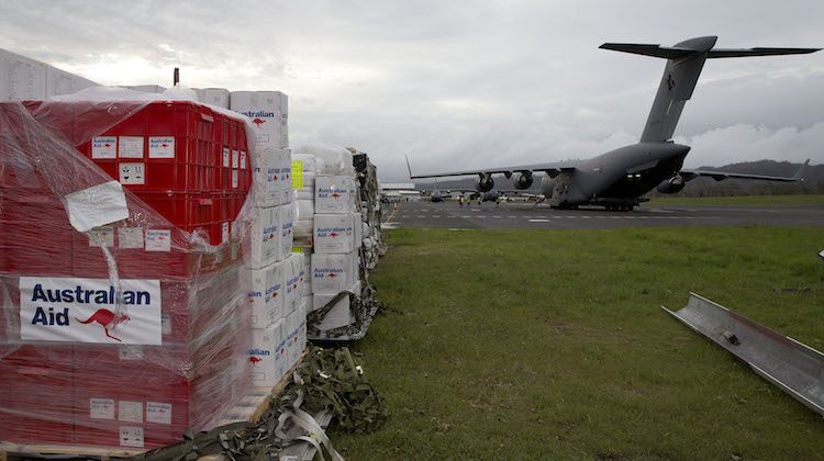 Humanitarian aid from Australia for Vanuatu at Port Vila Airport. (Defence)