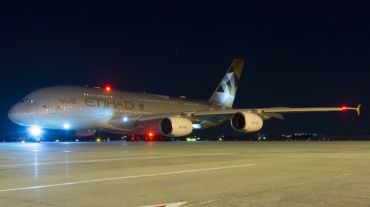 Etihad's daily A380 service to Sydney arrives about 1800 and departs at 2125. (Seth Jaworski)