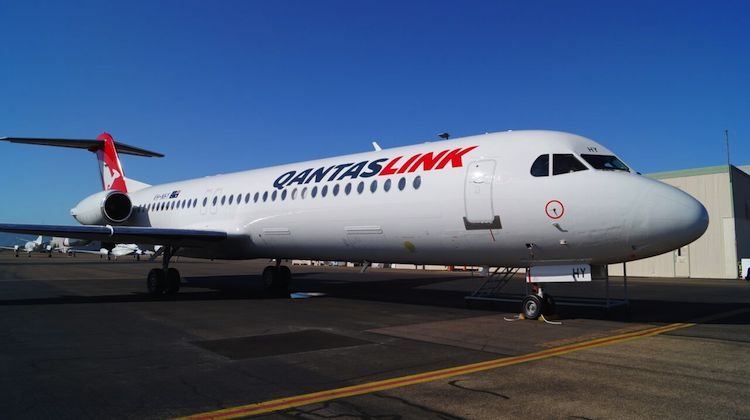 The first Network Aviation Fokker 100 in QantasLink colours VH-NHY. (Qantas)