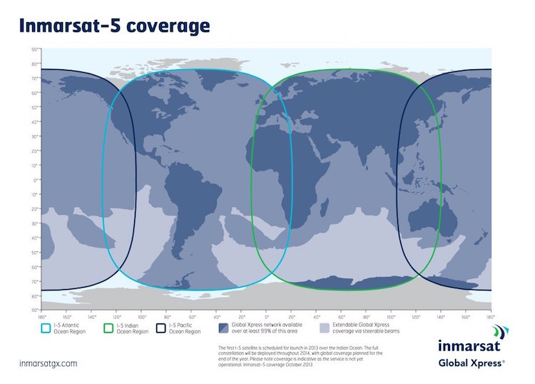 Inmarsat expects global coverage once its satellite constellation is complete. Image - Inmarsat