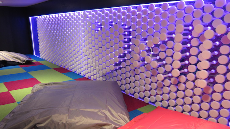 The kids area features a push-pull wall. (Jordan Chong)