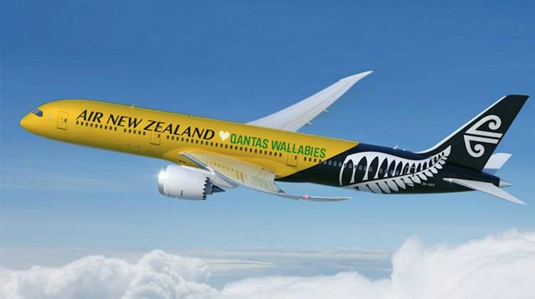 An artist's impression of an Air NZ aircraft in Wallabies livery. (Qantas/Air NZ, Twitter)
