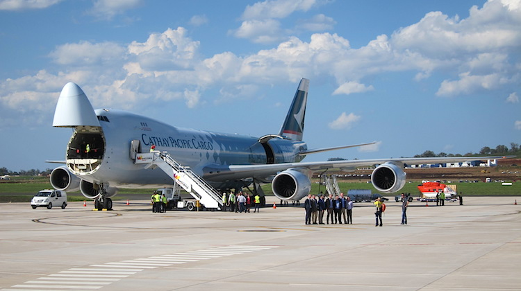 Cathay Pacific Boeing 747-8F with its nose freight door open at Wellcamp Airport. (Jordan Chong)