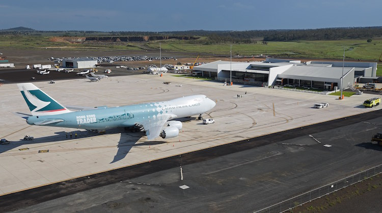 A Cathay Pacific Boeing 747-8 at Wellcamp Airport on Monday 23 November 2015 (Lenn Bayliss)