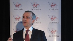 Virgin Australia chief executive John Borghetti presenting the 2015/16 first half results. (Jordan Chong)