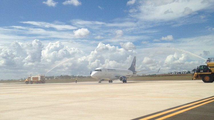 Airnorth Embraer E170 VH-ANT is welcomed on arrival at Brisbane West Wellcamp Airport. (Wellcamp/Twitter)