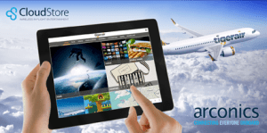 A supplied image of the Tigerair Australia IFE from Cloudstore by Arconics. (Arconics)