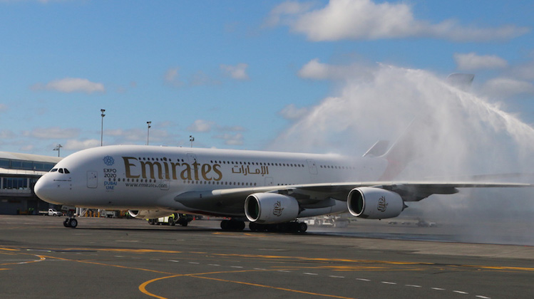 AUCKLAND NEW ZEALAND March 2, 2016. Emirates Airbus A380 A6-EON arrived at Auckland International Airport today after completeing an inaugural direct flight from Dubai to Auckland a distance of 7668 miles. This is currently the worlds longest flight. Subsequent flights are to be carried out with Boeing 777-200 LR aircraft