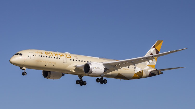 An Etihad Airways Boeing 787-9 at Perth Airport. (Keith Anderson)
