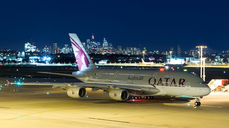 Qatar Airways Airbus A380 A7-APE at Sydney Airport. (Sydney Airport)