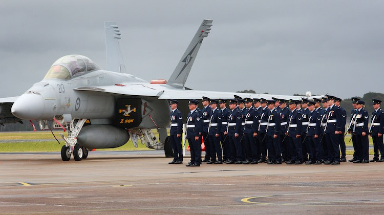 No 1 Squadron with an F/A-18F Super Hornet on the Numbers 1, 2, 3 and 4 Squadrons Centenary parade held at RAAF Base Williamtown.