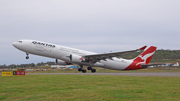 Qantas Airbus A330-300 VH-QPA takes off from Brisbane West Wellcamp Airport bound for Shanghai. (Lenn Bayliss)
