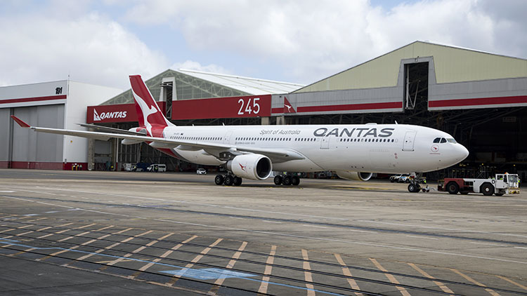 Airbus A330-300 VH-QPJ was the first Qantas aircraft to feature the new livery. (Seth Jaworski)