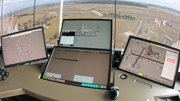 A file image of the scene from inside the Melbourne Tullamarine air traffic control tower. (Airservices)