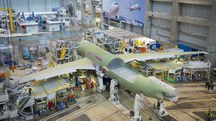 ntegration of the Beluga XL core airframe will be performed inside the two-section L34 building at Airbus' Lagardère industrial zone in France, which is adjacent to Toulouse-Blagnac Airport. (Airbus)