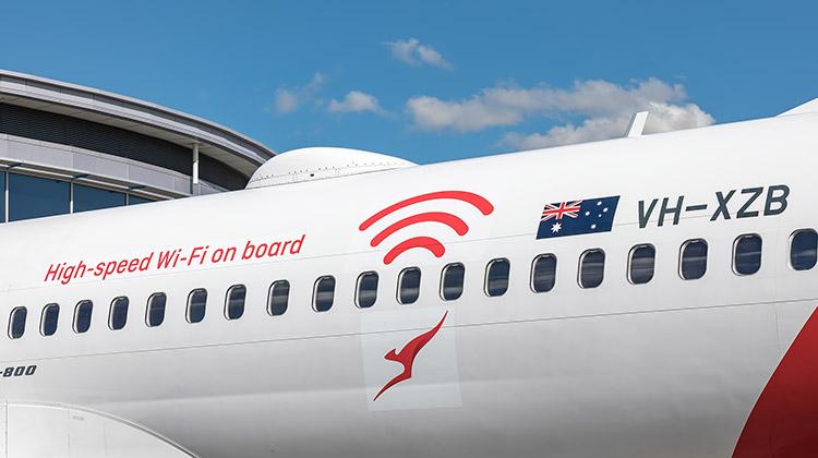 Qantas's first aircraft to have Wi-Fi installed was Boeing 737-800 VH-XZB. (Qantas/Kurt Ams)