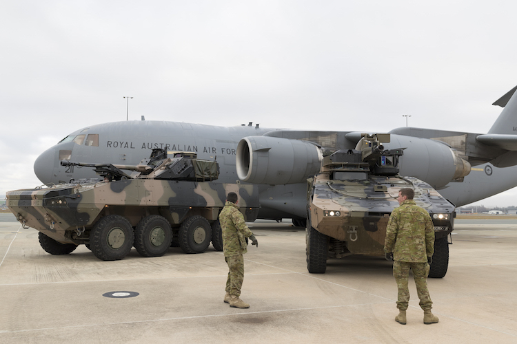 The C-17 was involved in air transportability trials with the LAND 400 Phase 2 Combat Reconnaissance Vehicle contenders at Defence Establishment Fairbairn on June 22. (Defence)