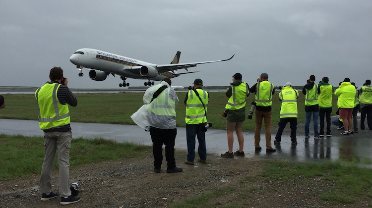 Photographers capture the arrival of Singapore Airlines' first Airbus A350-900 flight to Brisbane. (Brisbane Airport)