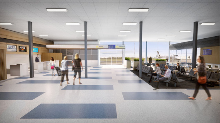 An artist's impression of the refurbished passenger terminal at Essendon Fields Airport. (Essendon Fields Airport)