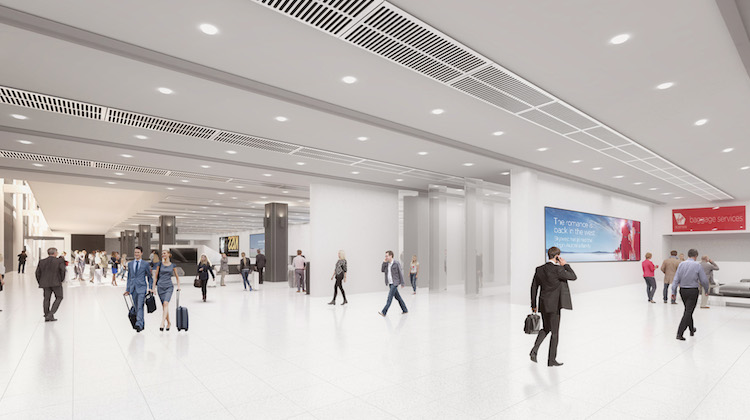 An artist's impression of Virgin Australia's new Terminal 3 arrivals hall at Melbourne Tullamarine. (Virgin Australia)