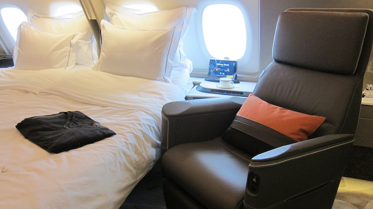 Singapore Airlines new first class suites on board Airbus A380 9V-SKU. (Jordan Chong)