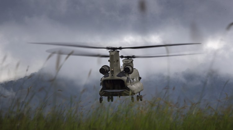 An Australian Army CH-47F Chinook helicopter takes off from Mount Hagen Airport during Operation PNG Assist 2018. (Defence)