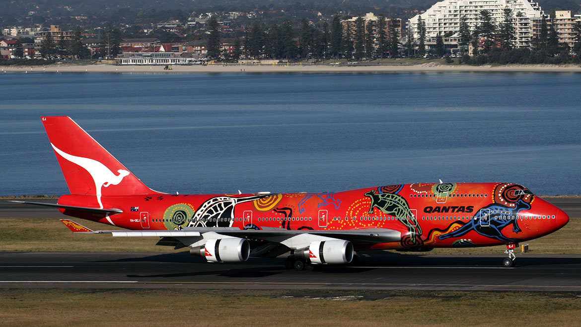 Qantas Boeing 747-400ER VH-OEJ, the last 747 built for Qantas, wore the iconic Wunala Dreaming Indigenous scheme from its delivery in August 2003 until it was repainted in standard Qantas colours in January 2012. (Rob Finlayson)