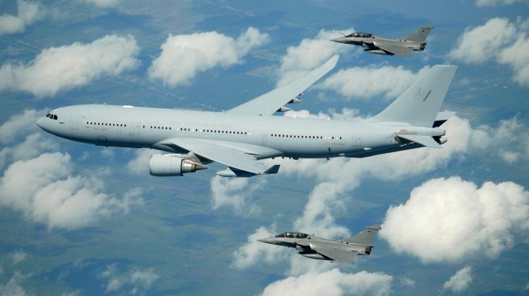 French Air Force Dassault Rafales and RAAF KC-30A Multi Role Tanker Transport flying in formation. (Defence)