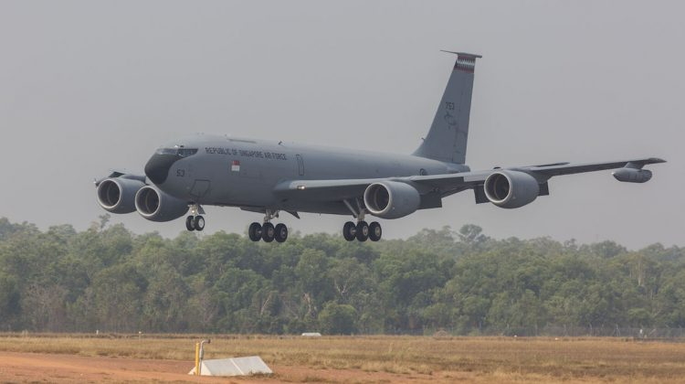 Republic of Singapore Air Force KC-135 lands at RAAF Base Darwin for the start of Exercise Pitch Black 2018. (Defence)