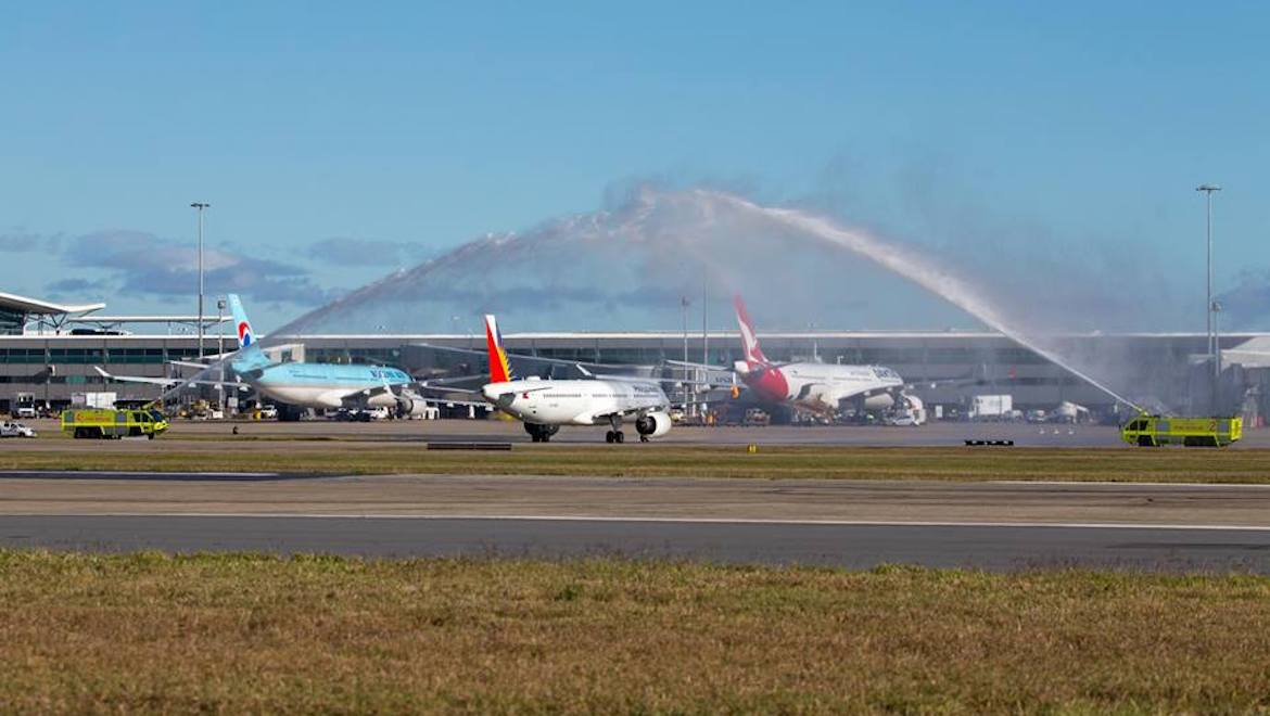 Philippine Airlines' inaugural Airbus A321neo flight to Brisbane receives a traditional welcome. (Lance Broad)