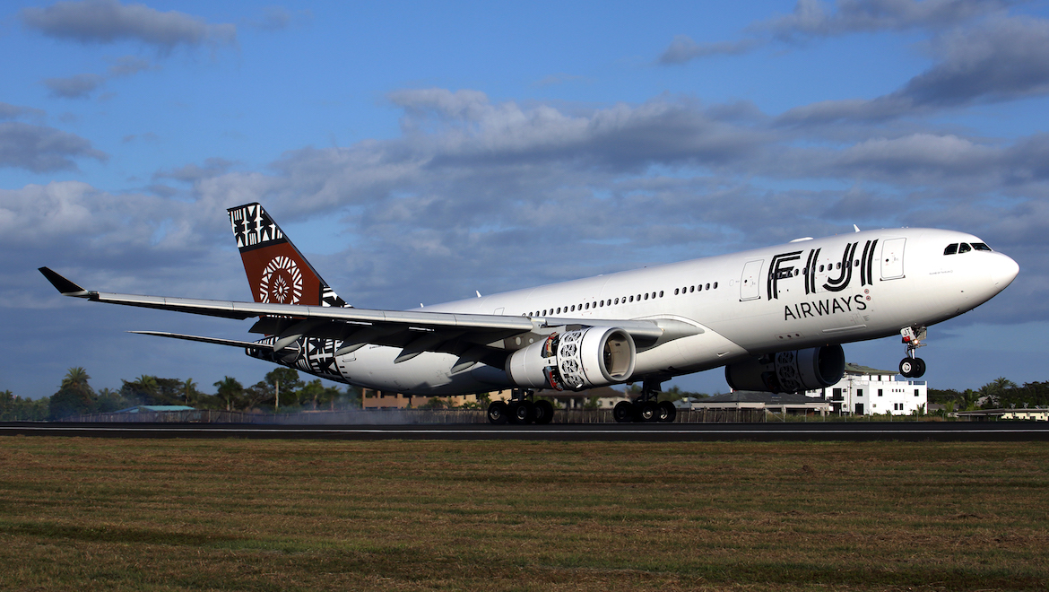 Another Airbus A330 load of tourists touches down at Nadi. (Rob Finlayson)