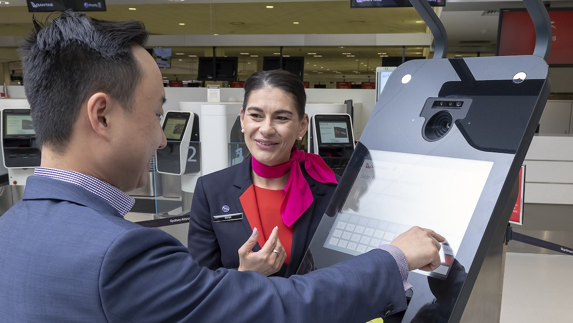 A supplied image of a checkin kiosk at Sydney Airport. (Sydney Airport)