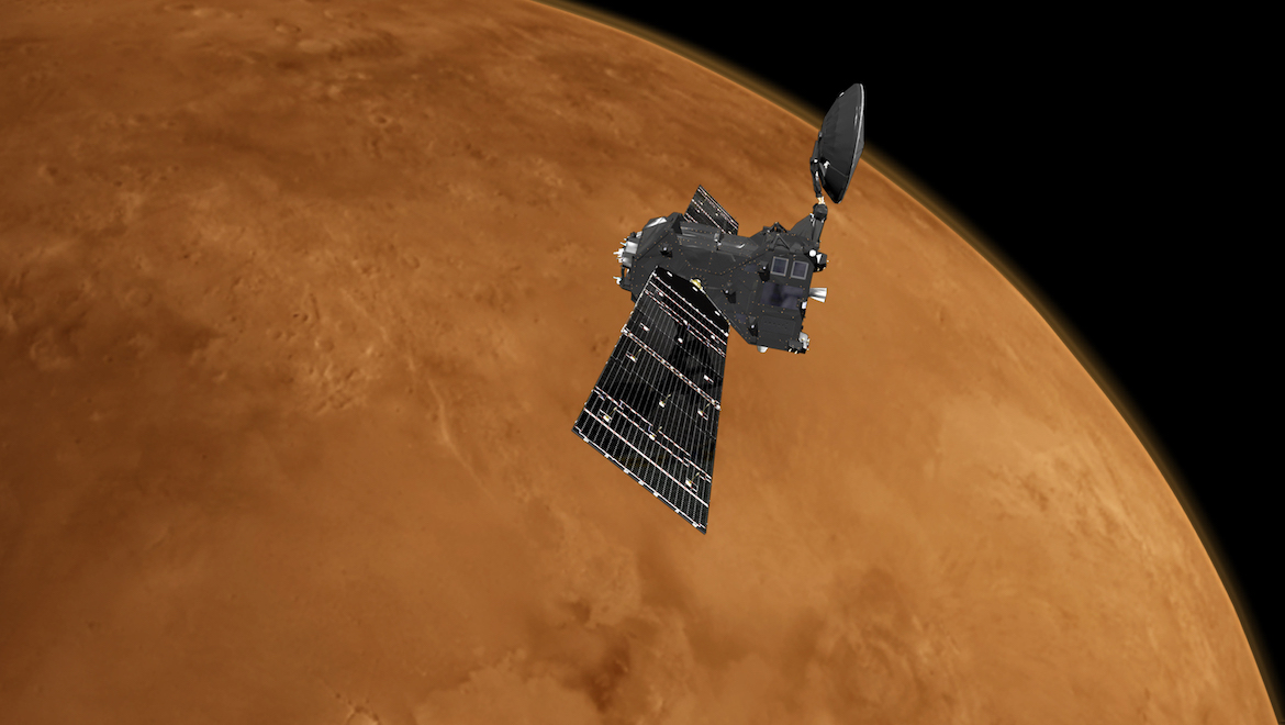 An artist's impression of the ExoMars Trace Gas Orbiter above Mars. (ESA)