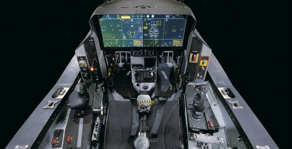 The F-35 cockpit is dominated by a panoramic cockpit display (PCD) with touchscreen controls. (Lockheed Martin)