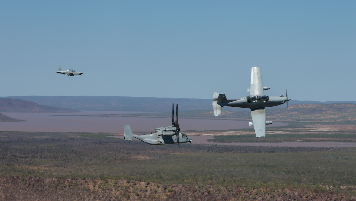 4SQN FAC PC-9s with a USMC MV-22 Osprey. (Defence)