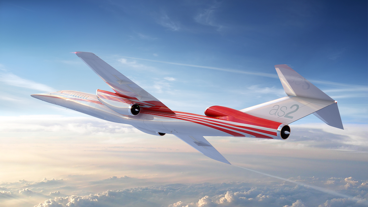The Aerion AS2 business jet will seat eight with a 'boomless' cruise speed of Mach 1.1. (Aerion)