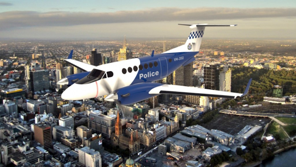 A Beechcraft Super King Air 350ER in Victoria Police livery. (Victoria Police)