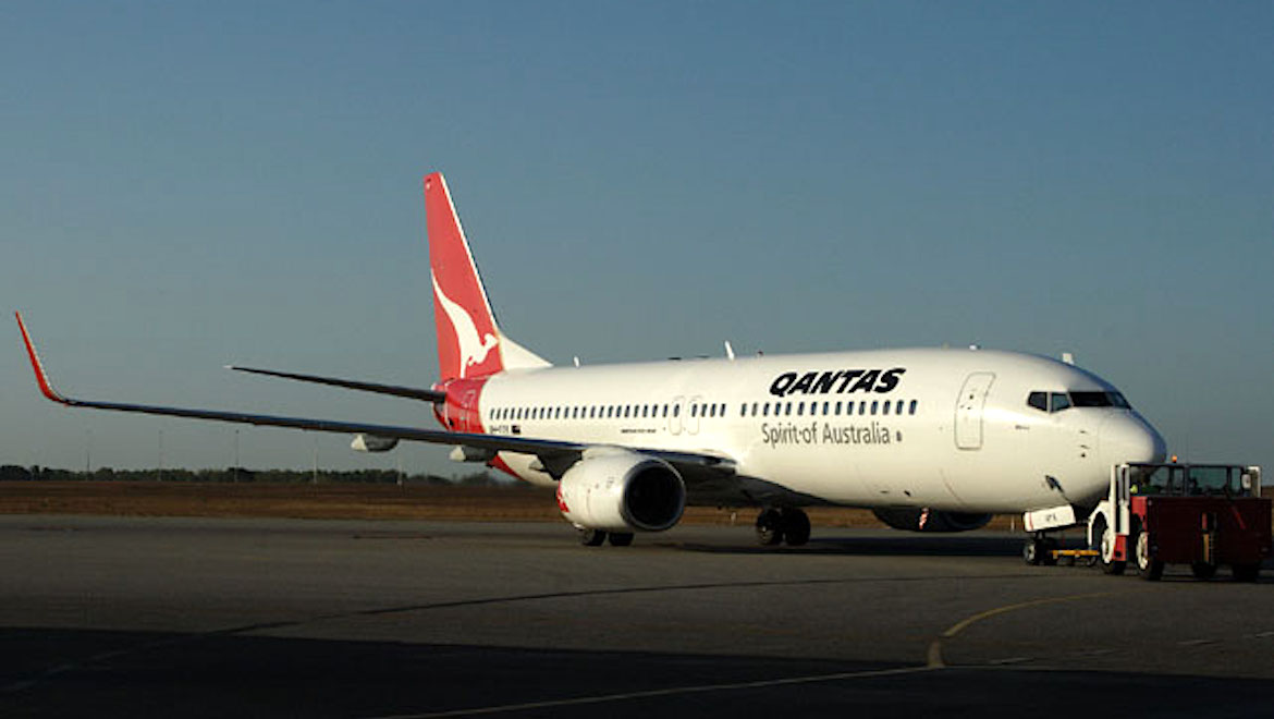 A file image of a Qantas Boeing 737-800 at Darwin Airport. (Rob Finlayson)