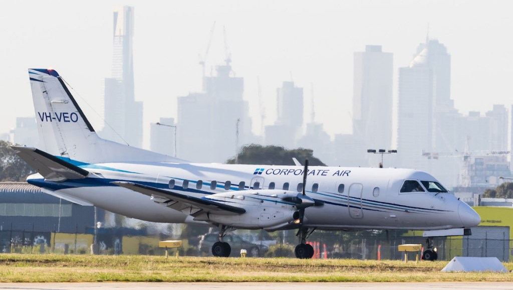 Fly Corporate Saab 340B VH-VEO at Melbourne Essendon. (Dave Soderstrom)