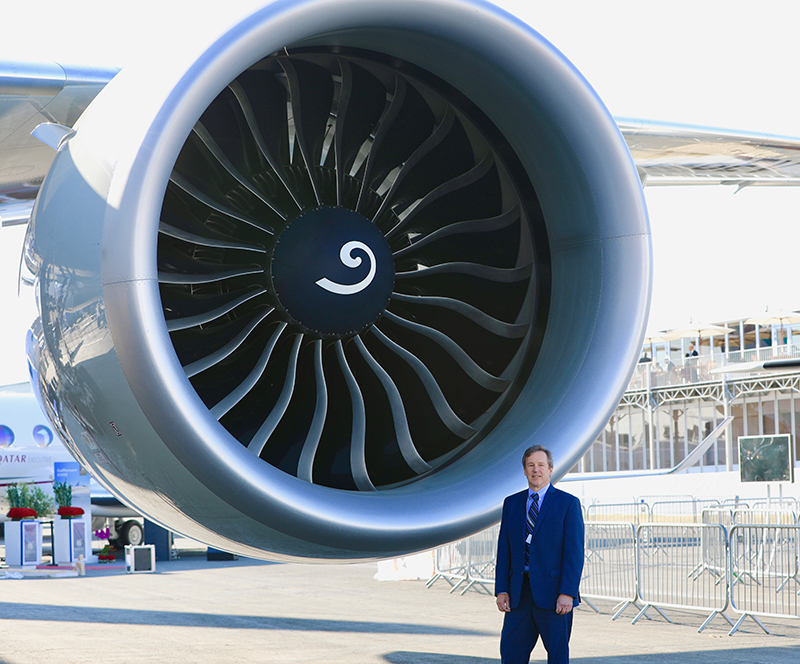 GE Aviation's Ted Ingling was part of a team that developed the GE90-115B (above), the world's most powerful engine. But he's now leading an effort to build an engine that's even larger. (Tomas Kellner for GE Reports)