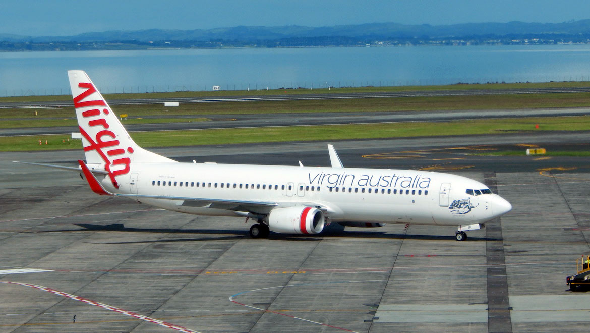 A file image of Virgin Australia Boeing 737-800 VH-YIR at Auckland Airport. (G B_NZ/Wikimedia Commons)
