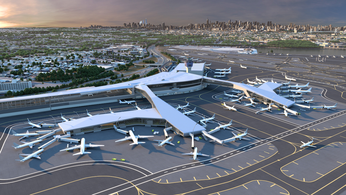 An artist's concept of the new Terminal B at New York LaGuardia Airport. (La Guardia Gateway Partners)