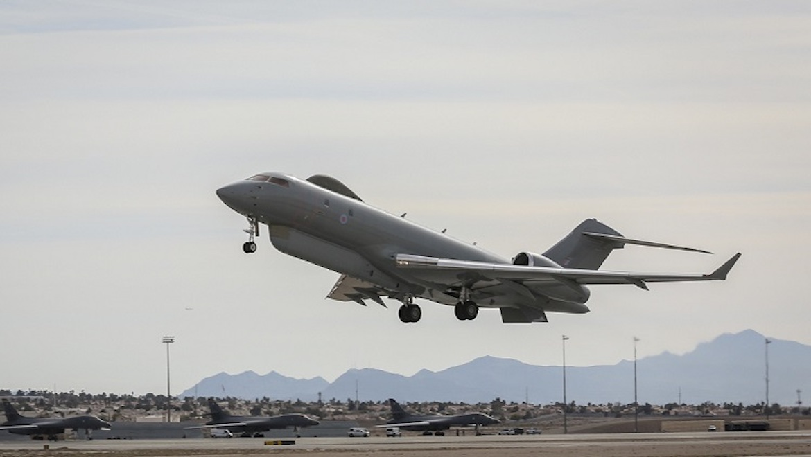 An RAF Sentinel R.1 surveillance aircraft takes off from Nellis AFB at RF 17-1. (Defence)