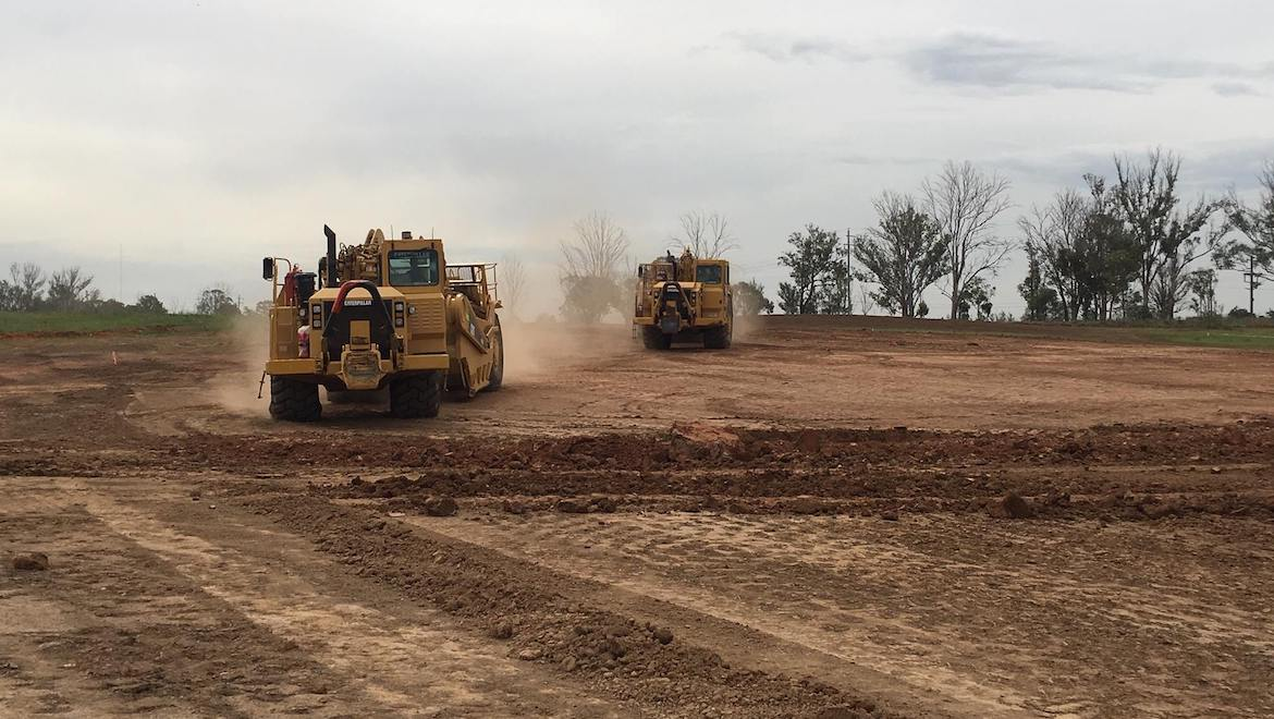Earthmovers at Badgerys Creek for the building of Western Sydney Airport. (WSA Co)