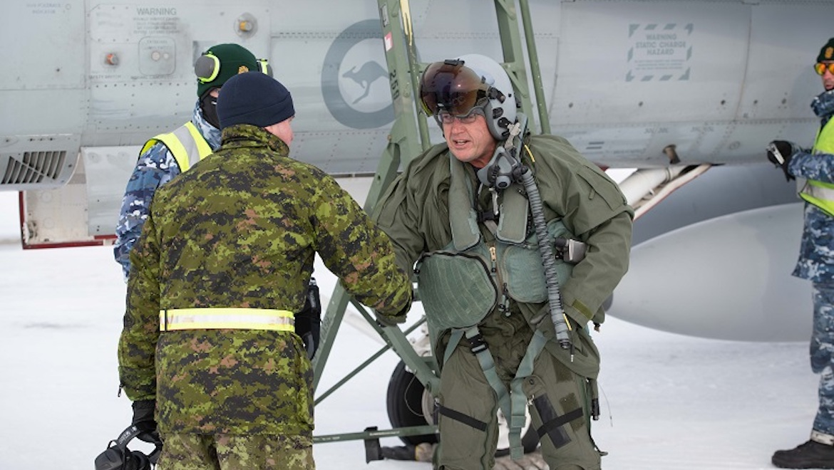 Air Commodore Michael Kitcher (right), Commander Air Combat Group and Lieutenant Colonel Jonathan Pilon (left), acting Wing Commander of 4 Wing Cold Lake. (Cold Lake Imagery/Canada)