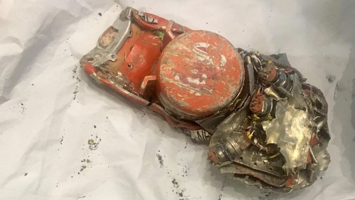 The flight data recorder from crashed Ethiopian Airlines Boeing 737 MAX 8. (French BEA/Twitter)