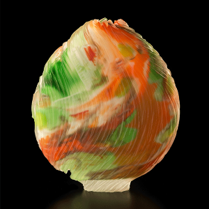 Abstract by Tim Shaw. Blown and carved glass vessel. Slash and Cut series.