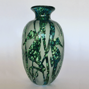 Seahorse vase (blue green) by Amanda Louden. Blown and carved glass.