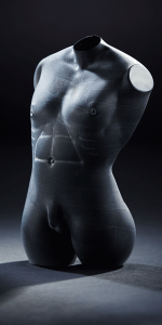 Dark Grey Male by Patrick Wong. Hot sculpted and etched glass.