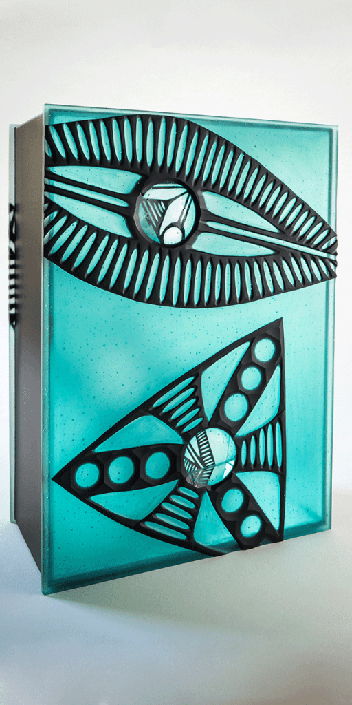 Diatom box IV by Zoe Woods (aqua) side 2. Kiln formed glass, wheel cut, mirror, zinc.